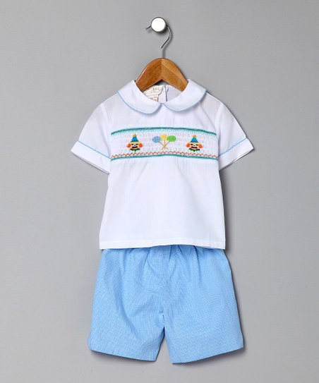 Blue Party Clowns Top & Gingham Shorts - Infant