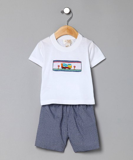 Blue Gingham Truck Tee &amp; Shorts - Infant &amp; Toddler