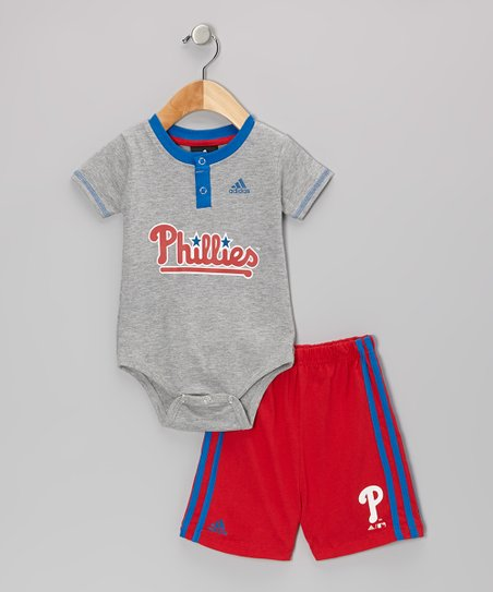 Gray Phillies Bodysuit & Shorts - Infant