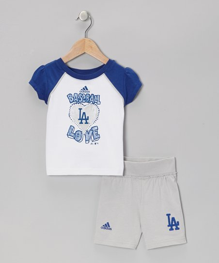 Navy LA Dodgers Raglan Tee & Gray Shorts - Infant & Toddler