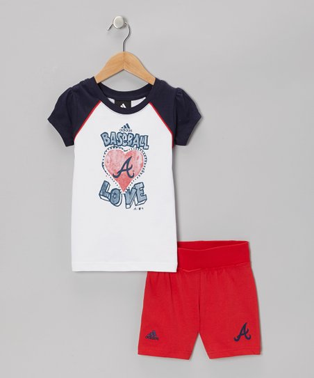 Navy Braves Raglan Tee & Red Shorts - Toddler & Kids