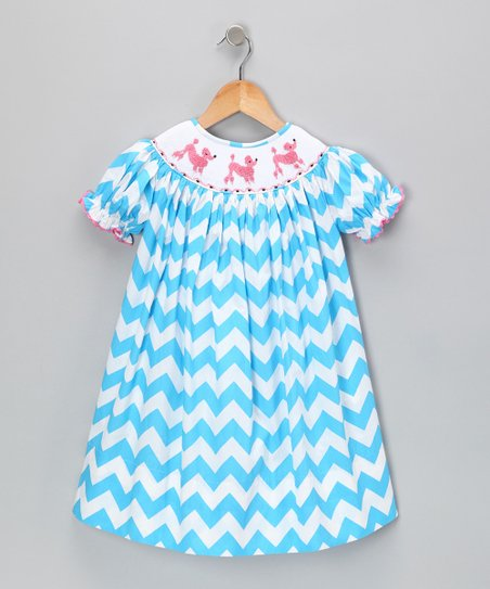 Blue Zigzag Bishop Dress - Infant & Toddler