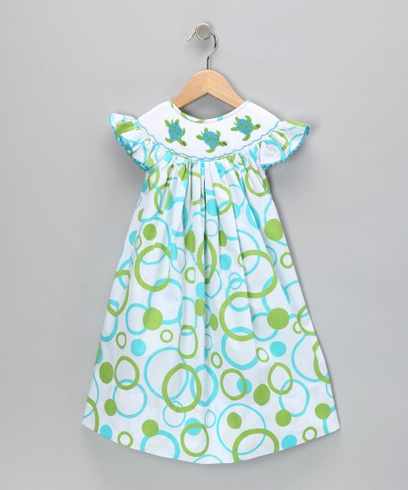 Blue & Green Sea Turtle Bishop Dress - Infant & Toddler