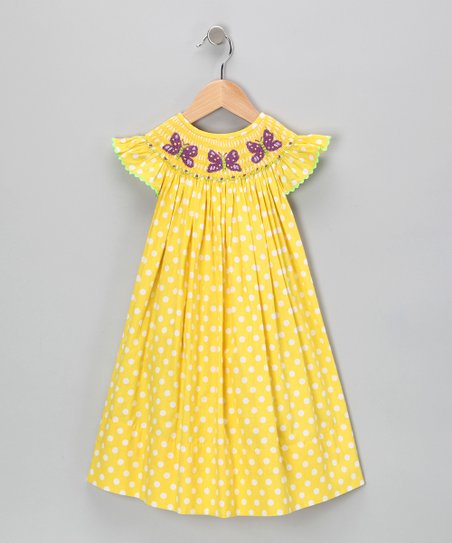 Yellow Polka Dot Bishop Dress - Infant & Toddler