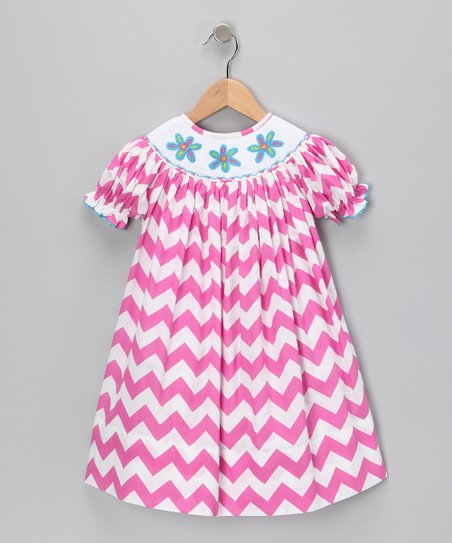 Hot Pink Zigzag Bishop Dress - Infant &amp; Toddler