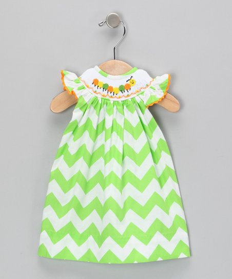 Green Zigzag Doll Dress