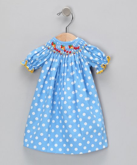 Blue Polka Dot Doll Dress