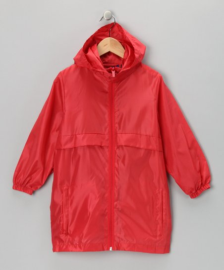 Fire Engine Red Packable Raincoat