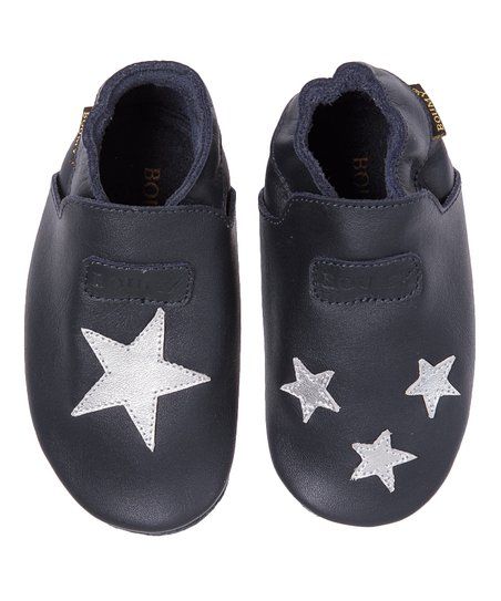 Navy Star Leather Booties