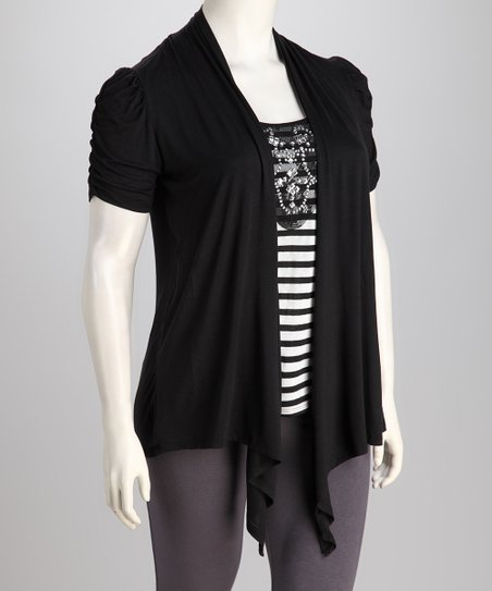 Dex Black Layered Plus-Size Top
