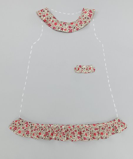 Coral Flower Liberty Trim Set - Girls
