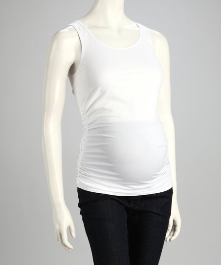 White Ruched Seamless Maternity Tank - Women & Plus