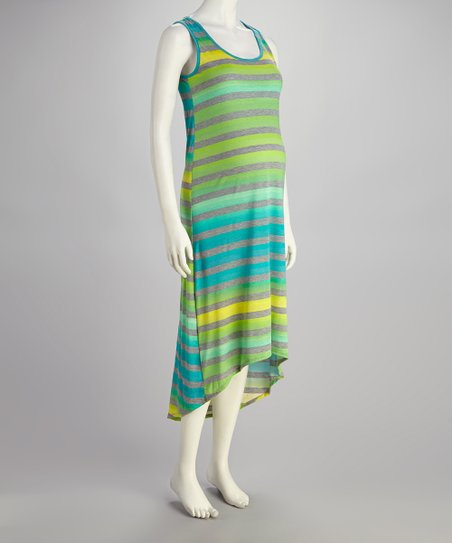 Green & Yellow Stripe Maternity Hi-Low Dress - Women