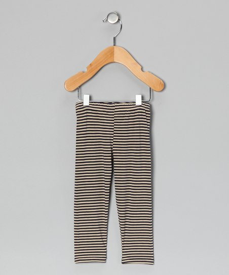 Navy &amp; Oatmeal Stripe Leggings - Infant, Toddler &amp; Kids