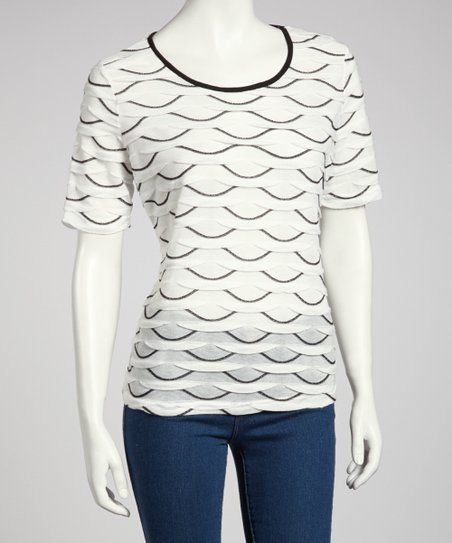 White & Black Scallop Short-Sleeve Top