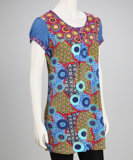 Royal Blue Flowers & Dots Tunic