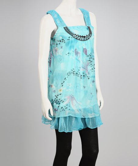Turquoise Floral Chiffon Shift Dress