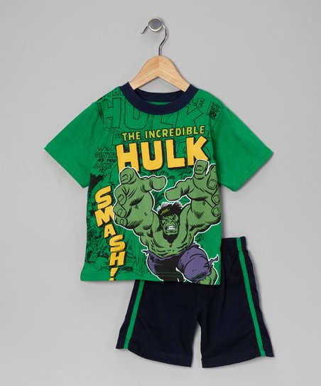 Green & Navy 'Hulk Smash' Tee & Shorts - Toddler