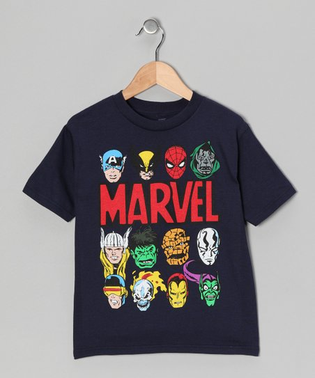 Navy Marvel Classic Faces Tee - Kids