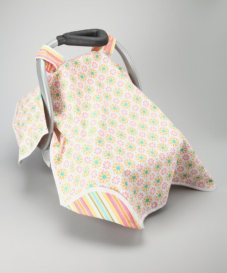 Pink Flower Power Car Seat Canopy