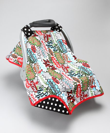 Black & White Polka-Dot Hero Car Seat Canopy