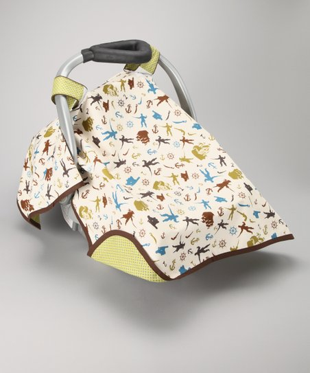 Green Pirates Day Car Seat Canopy