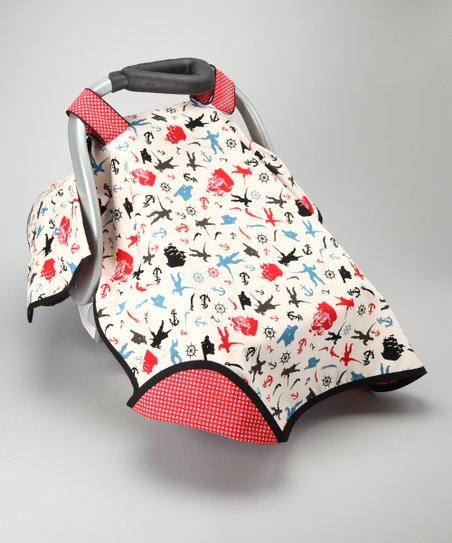 Red Pirates Play Car Seat Canopy