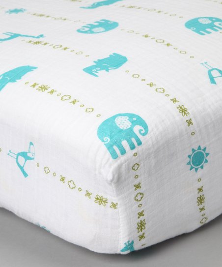 Teal Jungle Animal Organic Crib Sheet
