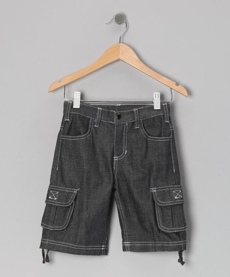 Black Medium Wash Cargo Shorts - Infant & Toddler