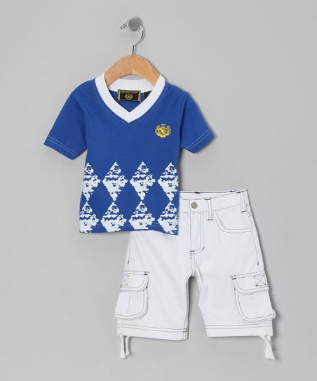 Blue Tee & White Twill Cargo Shorts - Infant, Toddler & Boys