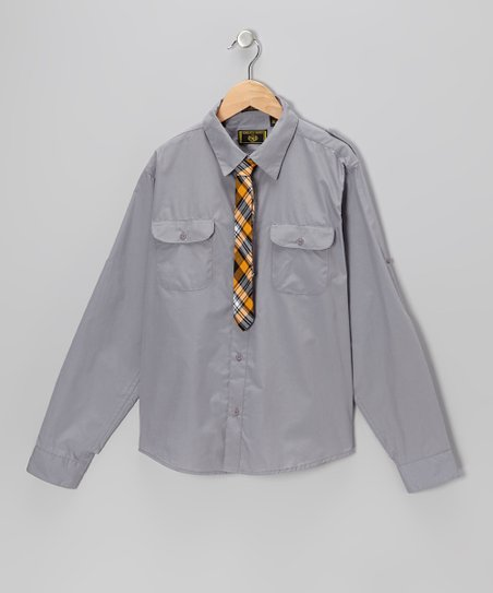 Gray Button-Up & Plaid Tie - Boys