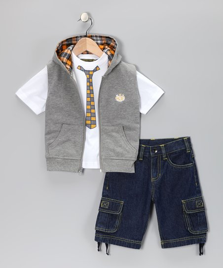 Gray Zip-Up Vest Set - Infant, Toddler & Boys