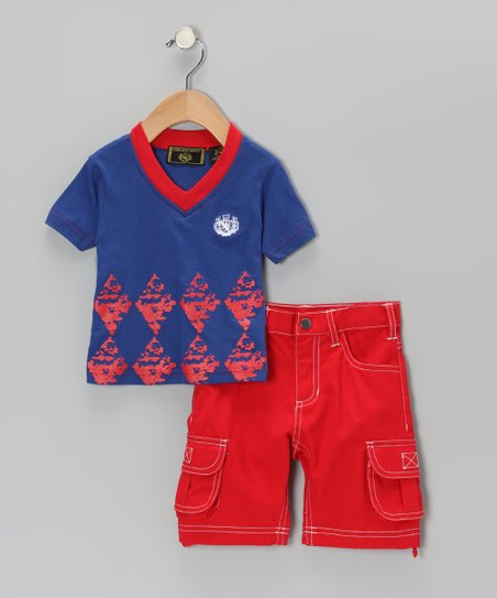 Royal Blue & Red Tee & Cargo Shorts - Boys