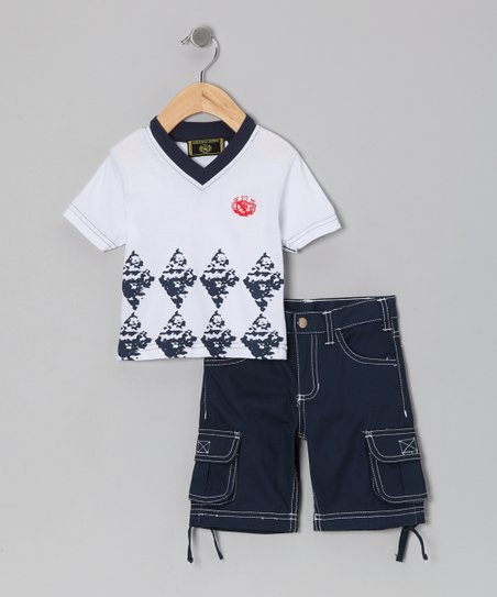 White Tee & Blue Twill Cargo Shorts - Infant, Toddler & Boys