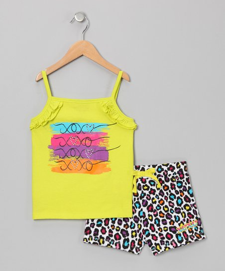 Lime 'XOXO' Tank & Leopard Shorts - Toddler & Girls