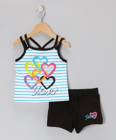 Turquoise Stripe Heart Tank & Black Shorts - Toddler & Girls