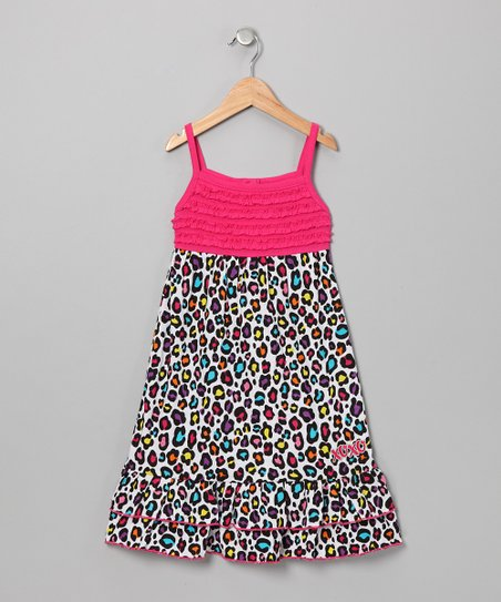 Fuchsia & Black Leopard Maxi Dress - Girls
