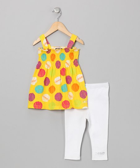 Yellow Polka Dot Tank & White Leggings - Girls