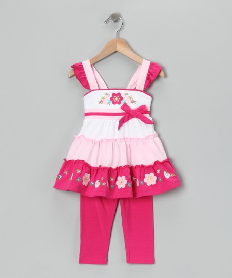 Pink Tiered Tunic &amp; Capri Leggings - Toddler &amp; Girls