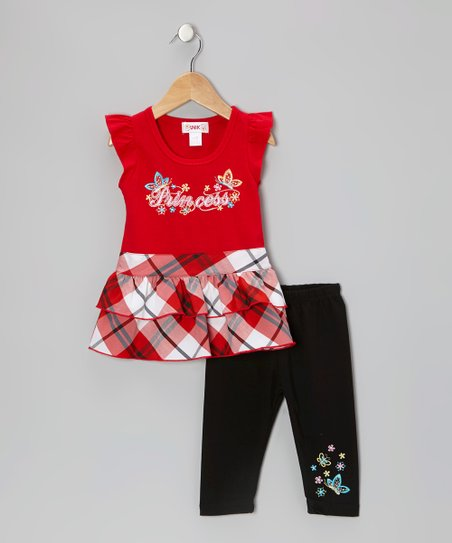 Red Plaid 'Princess' Tunic & Black Leggings - Toddler & Girls