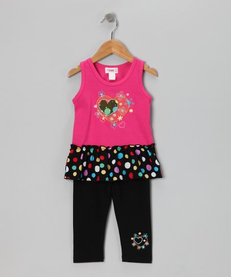 Pink Polka Dot Skirted Tank & Capri Leggings - Toddler & Girls