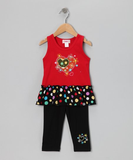 Red Polka Dot Skirted Tank & Capri Leggings - Toddler & Girls