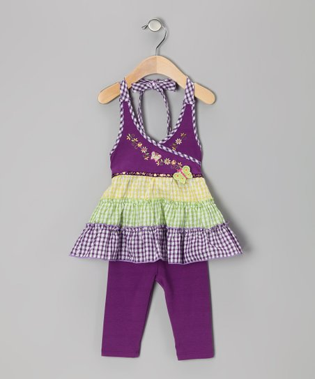 Purple Gingham Tiered Halter Top & Leggings
