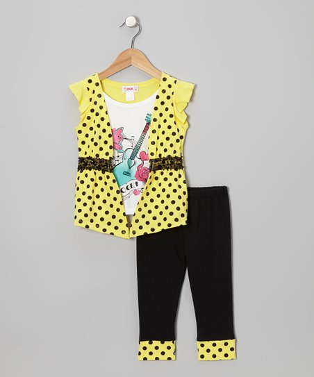 Yellow 'Rock' Layered Top & Black Leggings - Toddler & Girls