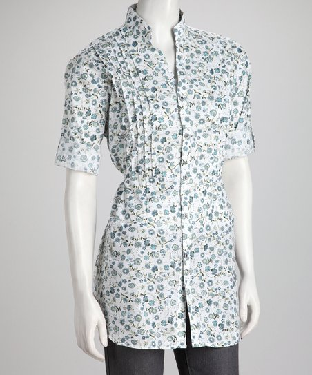 Green Floral Tie-Back Button-Up