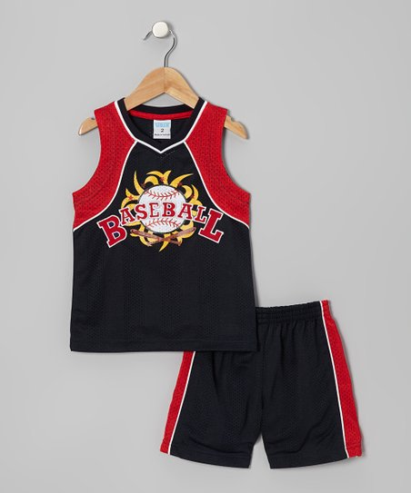 Black & Red 'Baseball' Tank & Shorts - Toddler & Boys