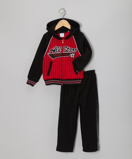 Black & Red 'All-Star' Zip-Up Hoodie & Pants - Toddler & Boys