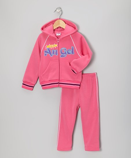 Pink 'Angel' Zip-Up Hoodie & Pants - Toddler & Girls