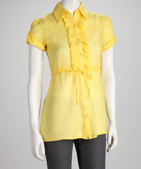 Yellow Ruffle Short-Sleeve Button-Up