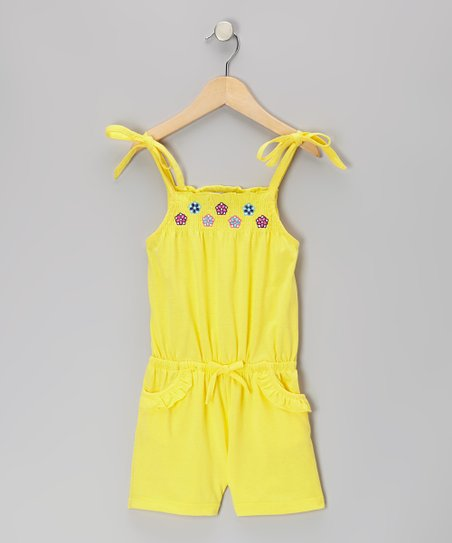 Yellow Flower Ruffle Romper - Toddler & Girls